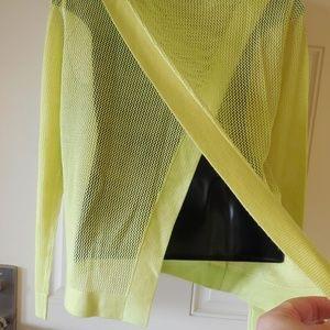 CAbi #199 Split Back Pullover Sweater Lemon Lime